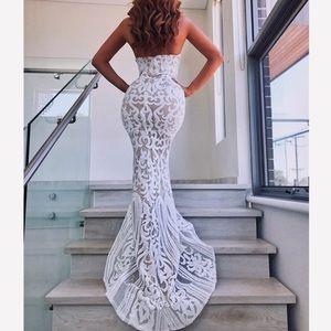 White Strapless Sequin Dress